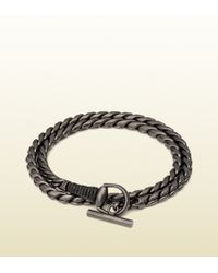 Gucci Silver Horsebit Bracelet with Leather Wrap - Lyst