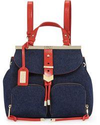 Badgley Mischka - Helena Denim Backpack W/Leather Trim - Lyst