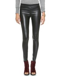 Current/Elliott The Leather Leggings - Black - Lyst