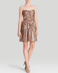 Jill Jill Stuart Dress - Strapless Sequin Draped Fit And Flare - Lyst