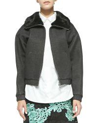 3.1 Phillip Lim Rabbit Fur Collared Jacket - Lyst