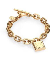 Michael Kors Padlock Charm Bracelet/Gold - Lyst