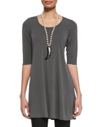 Eileen Fisher Half-Sleeve Silk Jersey Tunic - Lyst