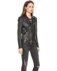 Pierre Balmain Belted Leather Moto Jacket Black - Lyst