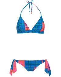 House of Holland - Reversible Tartan Triangle Bikini - Lyst