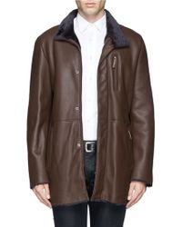 Armani Shearling Leather Coat - Lyst