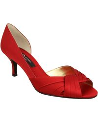Nina Culver Satin Open-Toe Pumps - Lyst