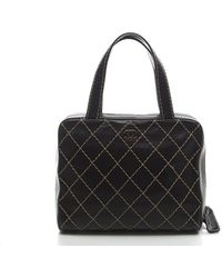 Chanel Pre-Owned Black Surpique Medium Tote Bag - Lyst