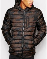 Asos Quilted Jacket In Camouflage - Lyst