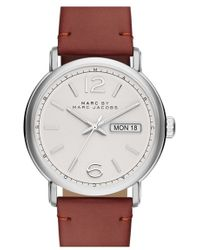 Marc By Marc Jacobs - 'fergus' Leather Strap Watch - Lyst