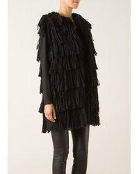 Lanvin Long Sleeveless Jacket in Black Fringed Tweed - Lyst