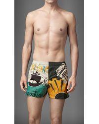 Burberry Book Cover Print Swim Shorts - Lyst