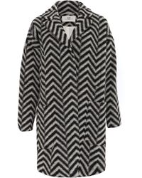 Day Birger et Mikkelsen - Black And White Corner Oversized Wool-blend Coat - Lyst