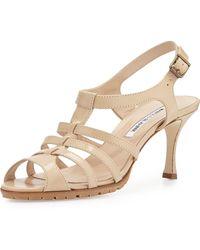 Manolo Blahnik Guillerin Strappy Leather Sandal beige - Lyst