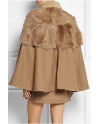 ad4cdbc7dfd2 Topshop Unique - Shearling-Paneled Wool-Blend Cape Coat - Lyst