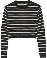 Tibi Cropped Striped Knitted Sweater - Lyst