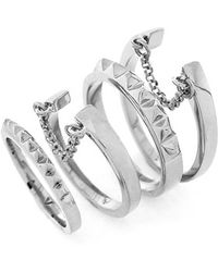 Vince Camuto - 'super Fine' Band Rings - Light Silver (set Of 4) - Lyst