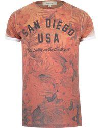 River Island Orange San Diego Print T-shirt - Lyst