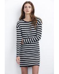 Velvet By Graham & Spencer Abelia Cozy Jersey Stripe Dress gray - Lyst