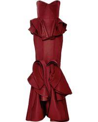 Zac Posen Ruffledhem Silk Faille Gown - Lyst