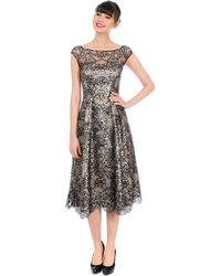 Kay Unger Metallic Lace A Line Dress - Lyst