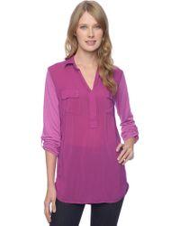 Splendid 3/4 Sleeve Shirting Top - Lyst