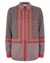 Jaeger Silk Tile Print Shirt - Lyst