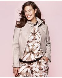 Calvin Klein Plus Size Faux-Leather Jacket - Lyst