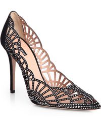 Giorgio Armani Crystal-Covered Suede Point-Toe Pumps - Lyst