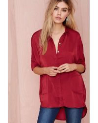 Nasty Gal The Big Easy Satin Top - Burgundy - Lyst