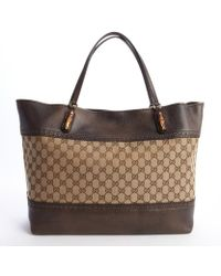 Gucci Brown and Tan Gg Canvas Large Tote - Lyst