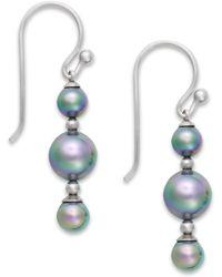 Majorica Sterling Silver Organic Man-made Gray Pearl Linear Drop Earrings - Lyst