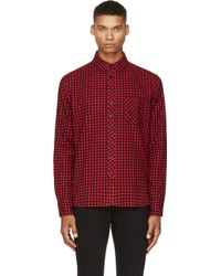 Rag & Bone Red and Black Check Flannel Shirt - Lyst