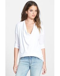 James Perse Drapey Crepe Jersey Top - Lyst