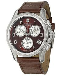 Swiss Army - - Chrono Classic Steel Womens Strap Watch Quartz Brown & Mother-of-pearl Dial And Diamond Bezel - 241420 - Lyst