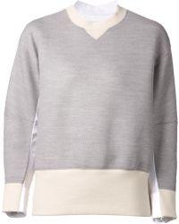Sacai Gray Raglan Sweatshirt - Lyst