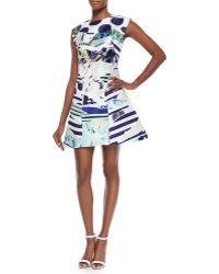Kenzo Torn Paper Printed Satin Dress - Lyst