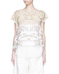 Chloé   Floral Embroidery Cotton-linen Top   Lyst
