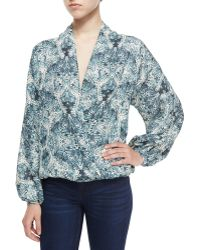 Haute Hippie | Tapestry Floral Faux-Wrap Silk Blouse | Lyst