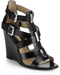 Michael Kors Reagan Leather Wedge Sandals - Lyst