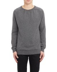 Saint Laurent Boatneck Elbow Patch Sweater - Lyst