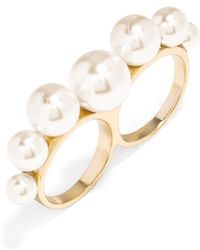 BaubleBar Women'S Pearly Bead Two-Finger Ring - Gold - Lyst