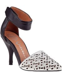 Jeffrey Campbell Sol Ankle Strap Pump Black/White Leather - Lyst
