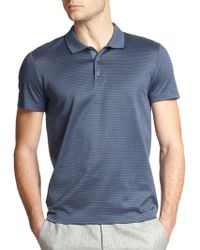 Theory Boyd Pinstriped Mercerized Cotton Polo blue - Lyst