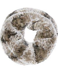 Meteo by Yves Salomon - Grey Knit Rabbit Fur Infinity Scarf - Lyst