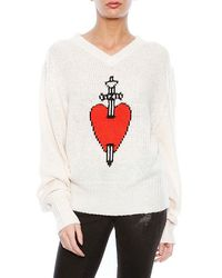 Wildfox King Of Hearts V Neck Sweater - Lyst