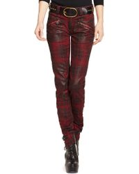 Polo Ralph Lauren Coated Plaid Skinny Jean - Lyst