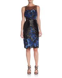 Badgley Mischka Floral Sequin Illusion Dress - Lyst