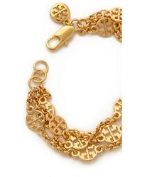 Tory Burch Multi Strand Logo Bracelet Shiny Gold - Lyst