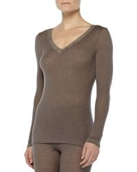 Hanro Long-Sleeve Lace-Trimmed Wool-Silk Tee - Lyst